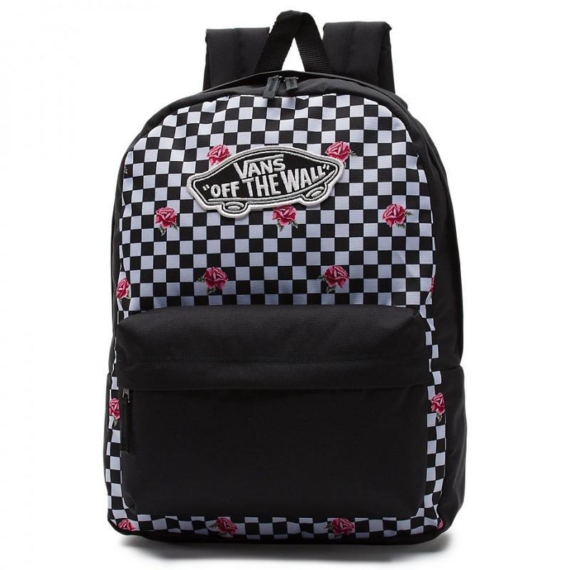 88b044673e9ee Czarno-biały plecak Vans Realm Rose Checkerboard szachownica i róże