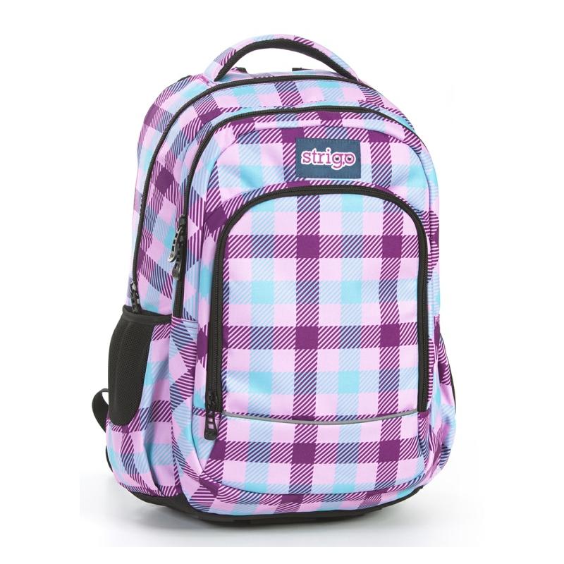ad6c23180c187 Plecak szkolny FIOLETOWY W KRATKĘ - Strigo Basic Misty BM6 ...