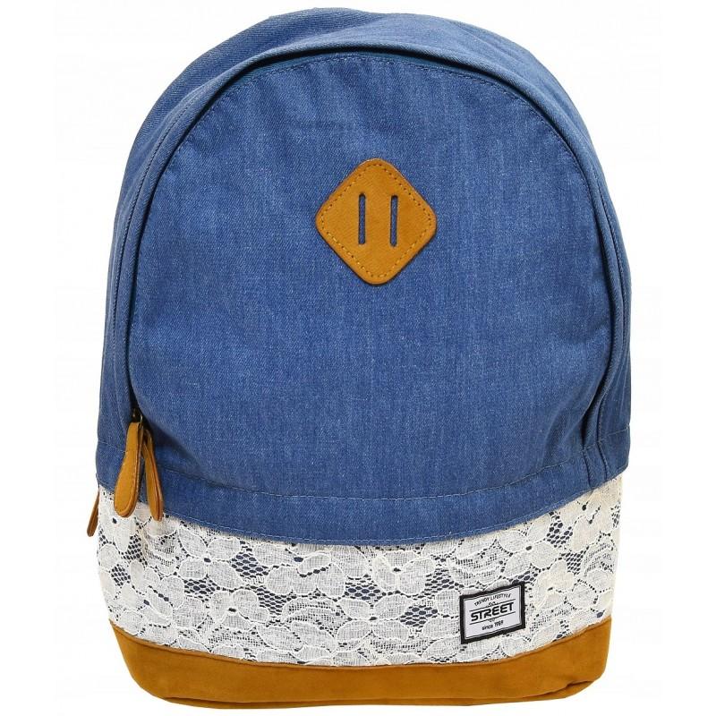 875bd0aaddf0c Mały plecak młodzieżowy - jeansowy boho z koronką - STREET jeans lace