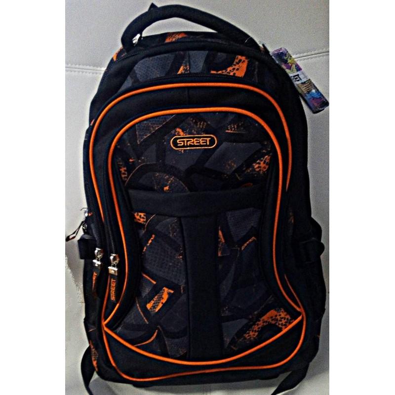 Plecak na kółkach młodzieżowy - czarny z pomarańczem - STREET Active