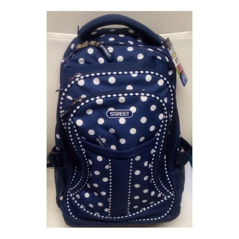 f930836c6e6bb Granatowy plecak na kółkach w białe kropki 3 przegrody dla dziewczyn