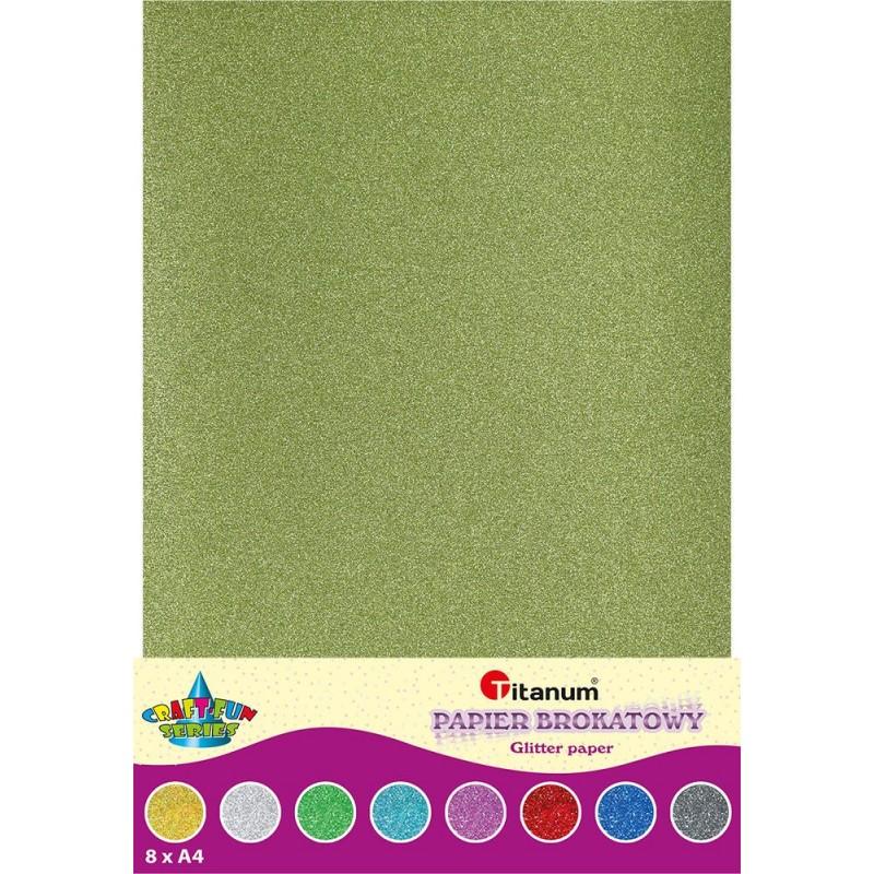 Kolorowy papier brokatowy 8xA4