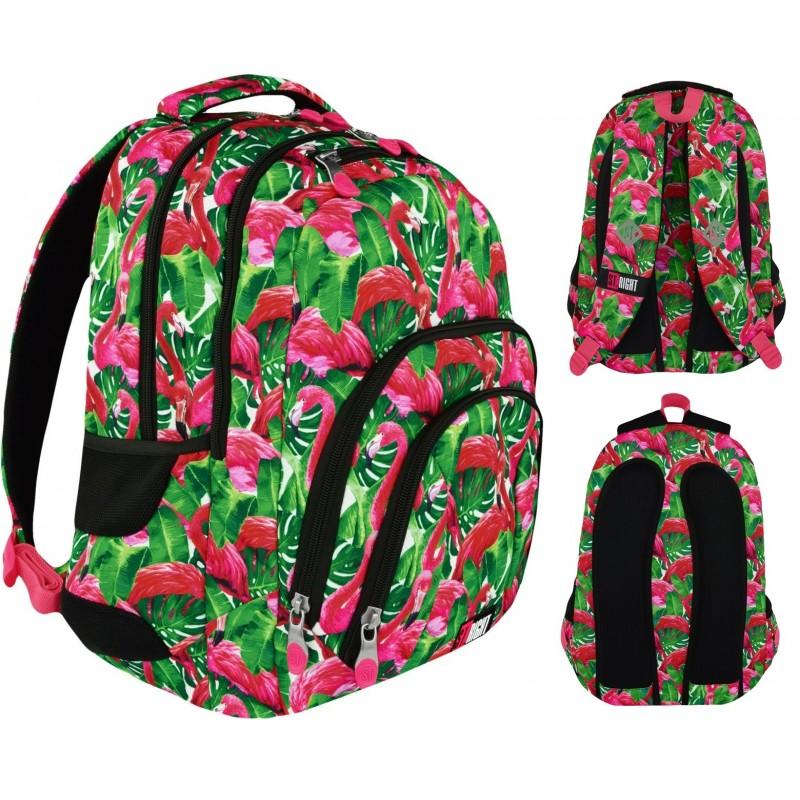 d34136c11ffc8 Plecak szkolny ST.RIGHT FLAMINGO PINK & GREEN flamingi dla dziewczyn