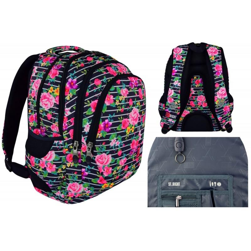 3dd779ca7efd8 Plecak szkolny 06 ST.RIGHT LIGHT ROSES małe róże dla dziewczyn