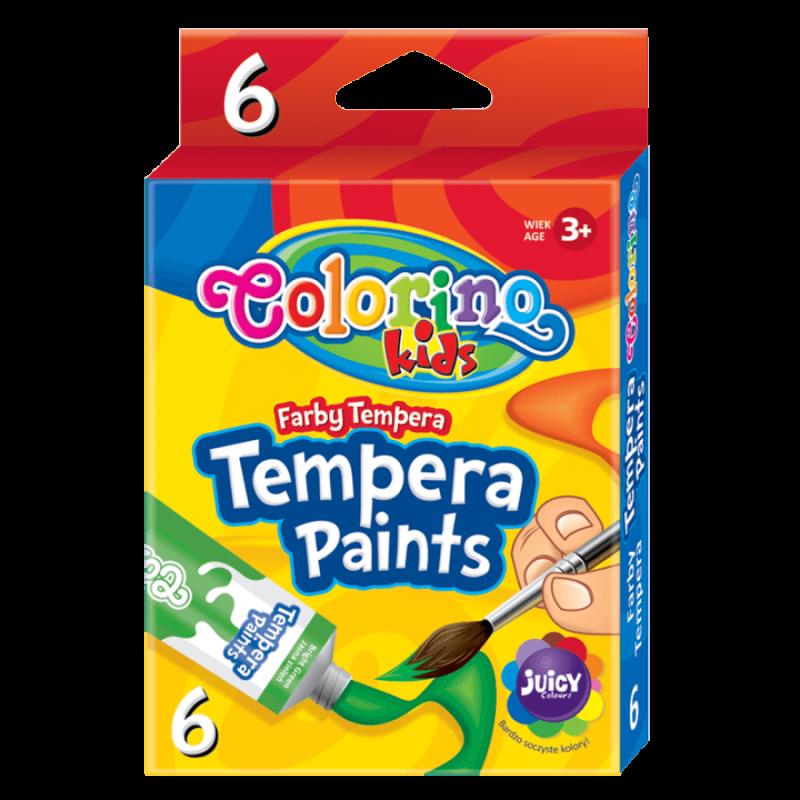 Farby plakatowe 12 kolorów w tubach Colorino dla dzieci