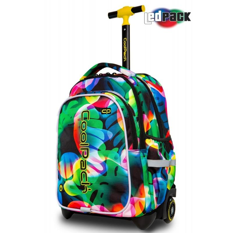Świecący plecak na kółkach w tęczowe liście ILLUSION STYLE do CoolPack Junior Rainbow