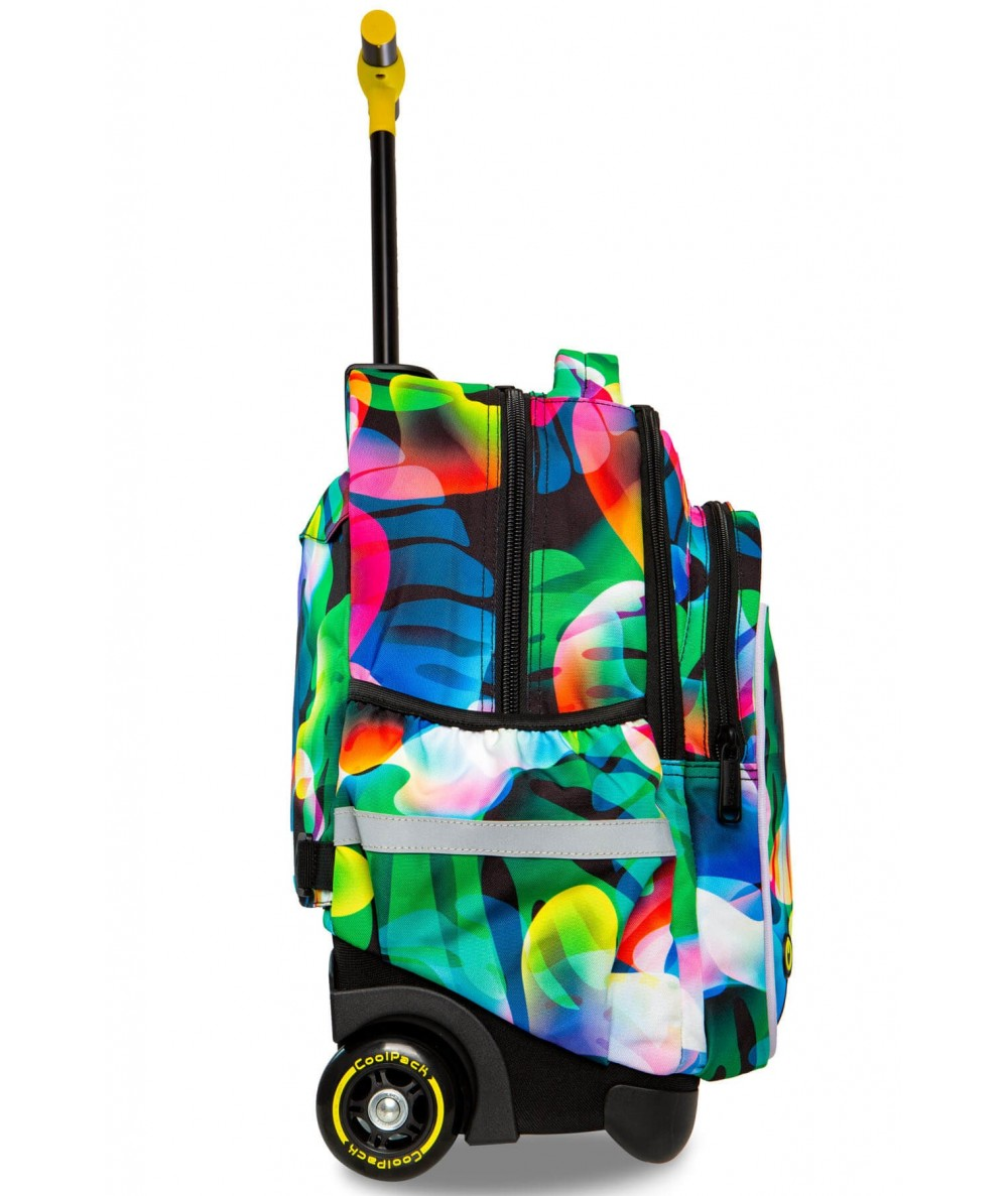 Świecący plecak na kółkach w tęczowe liście do CoolPack Junior Rainbow bok