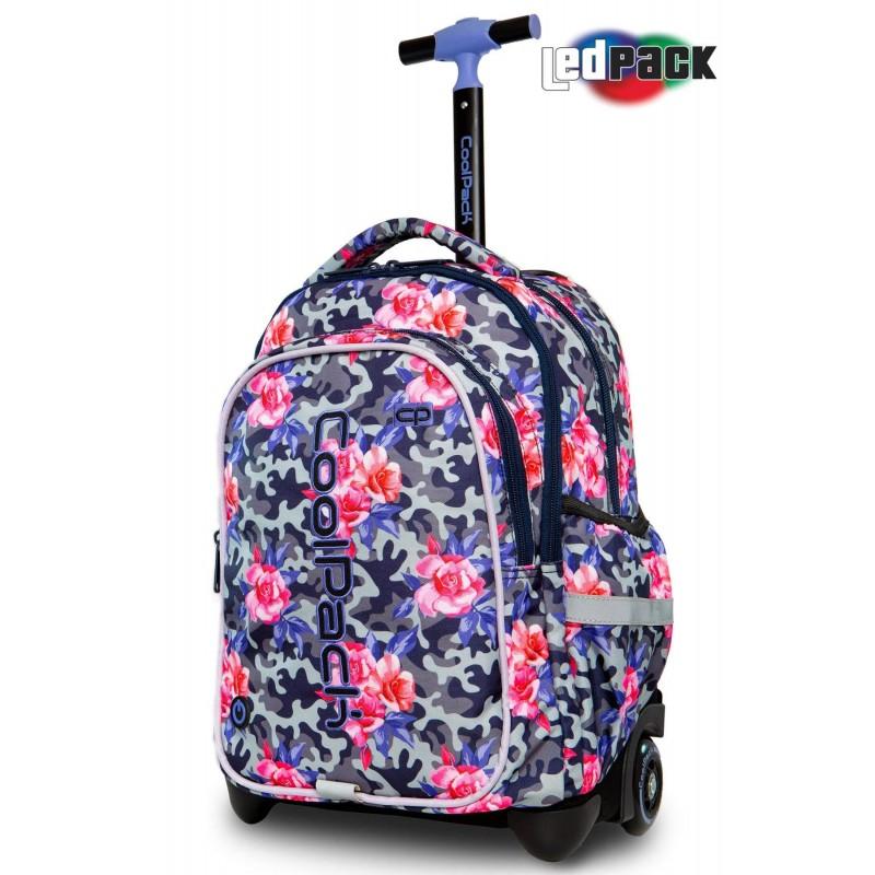 Świecący plecak na kółkach w róże i moro CoolPack Junior Camo Roses dla dziewczynki