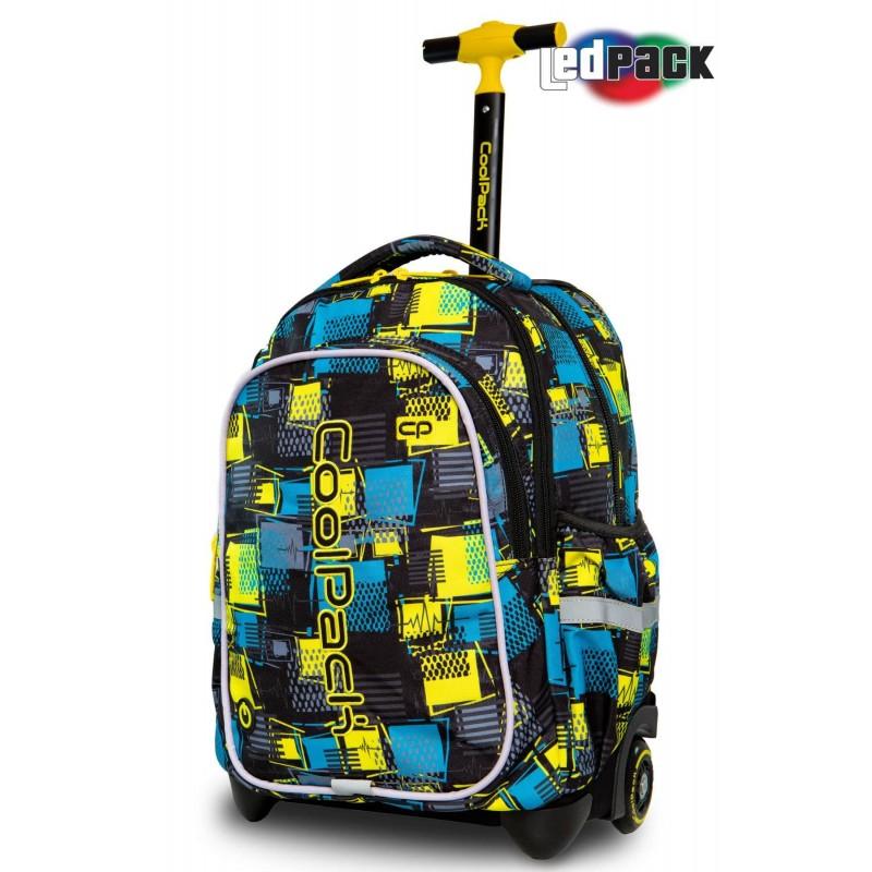 Świecący plecak na kółkach niebiesko-żółty w kratkę CoolPack Junior Squares dla chłopca