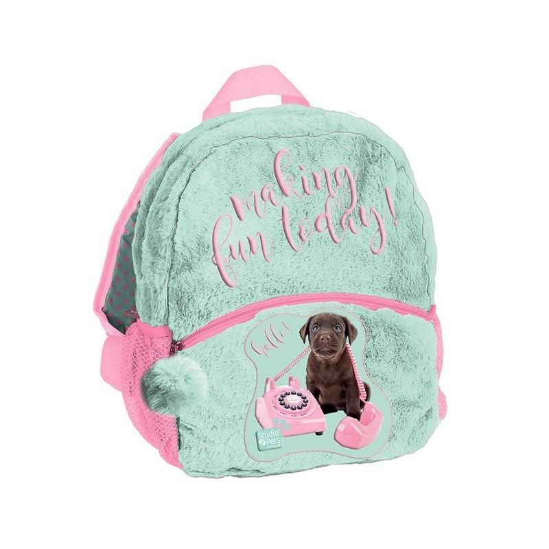 Plecaczek puchaty dla dziecka Studio Pets z pieskiem miętowy