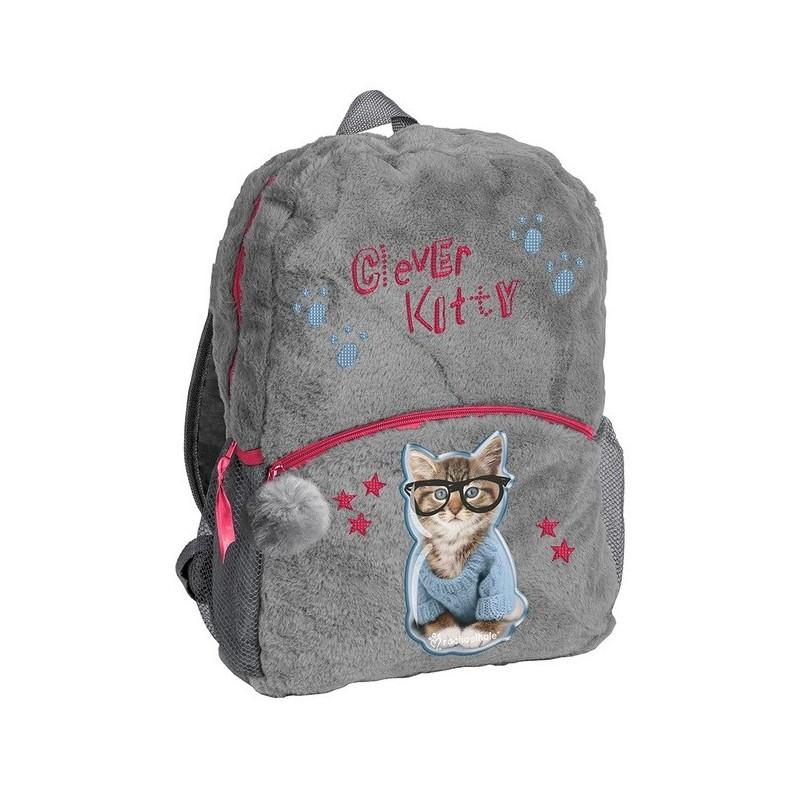 Plecak pluszowy na wycieczkę Rachael Hale szary z kotkiem