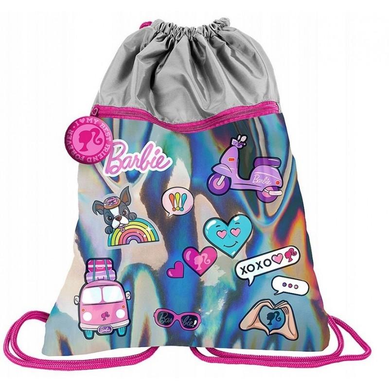 Plecak na sznurkach worek HOLO Barbie srebrny dla dziewczyny