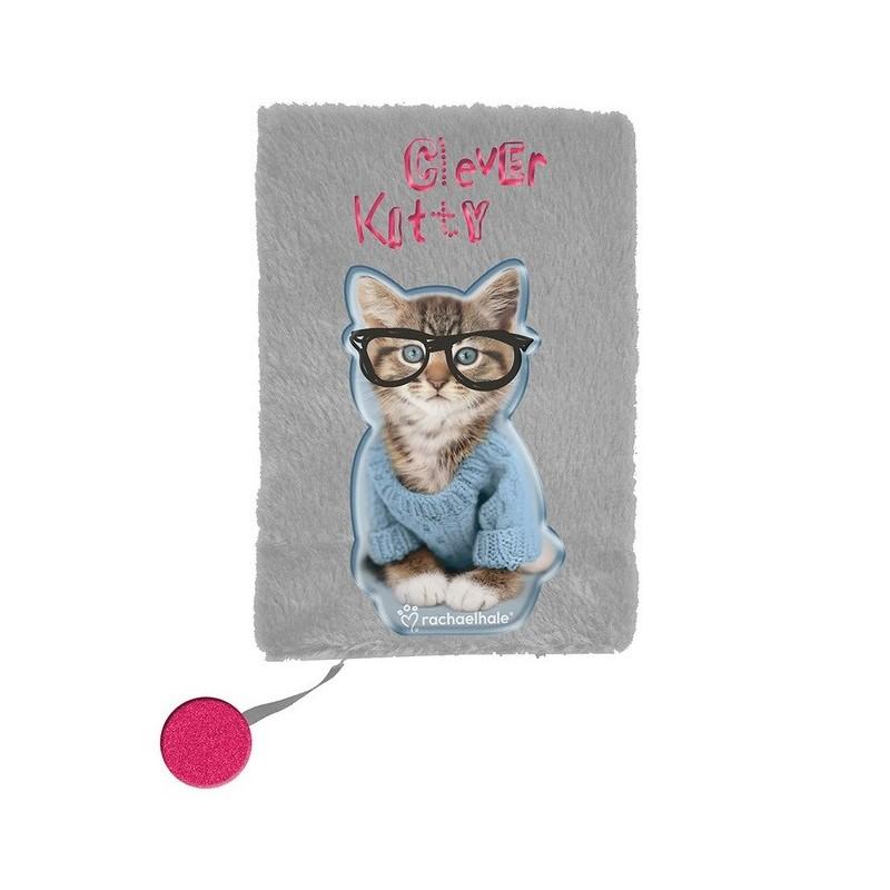 Pamiętnik pluszowy szary z kotkiem Rachael Hale notesik