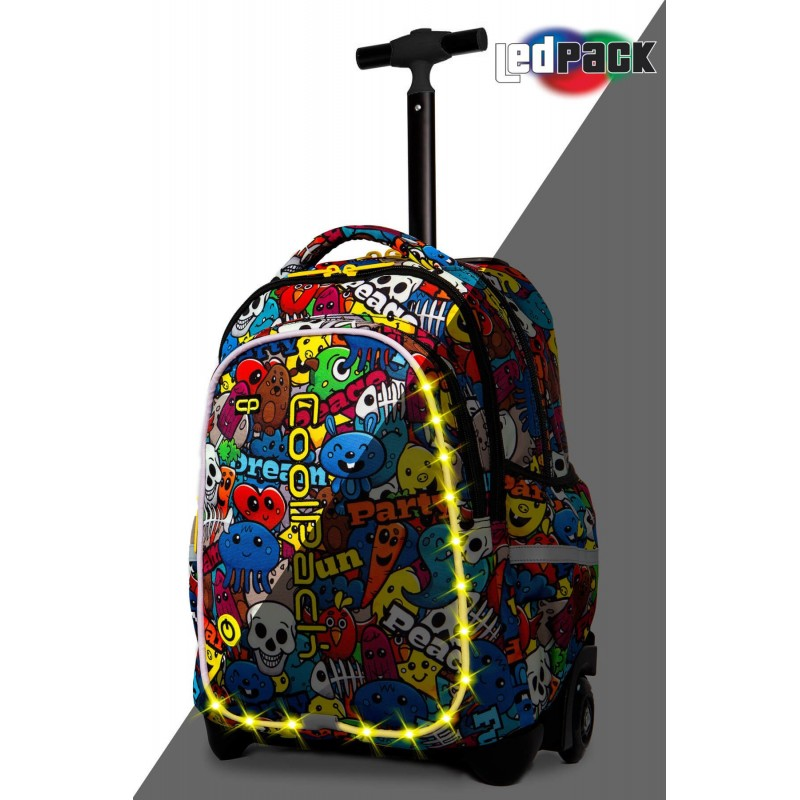 b4a108ffc8c31 Świecący plecak na kółkach z kreskówką CoolPack Junior Cartoon LED