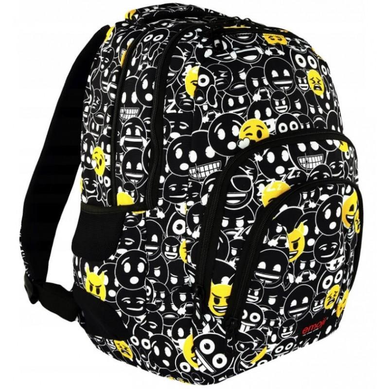 efe5786f44595 Czarno-biały plecak z emotikonami do szkoły dla młodzieży
