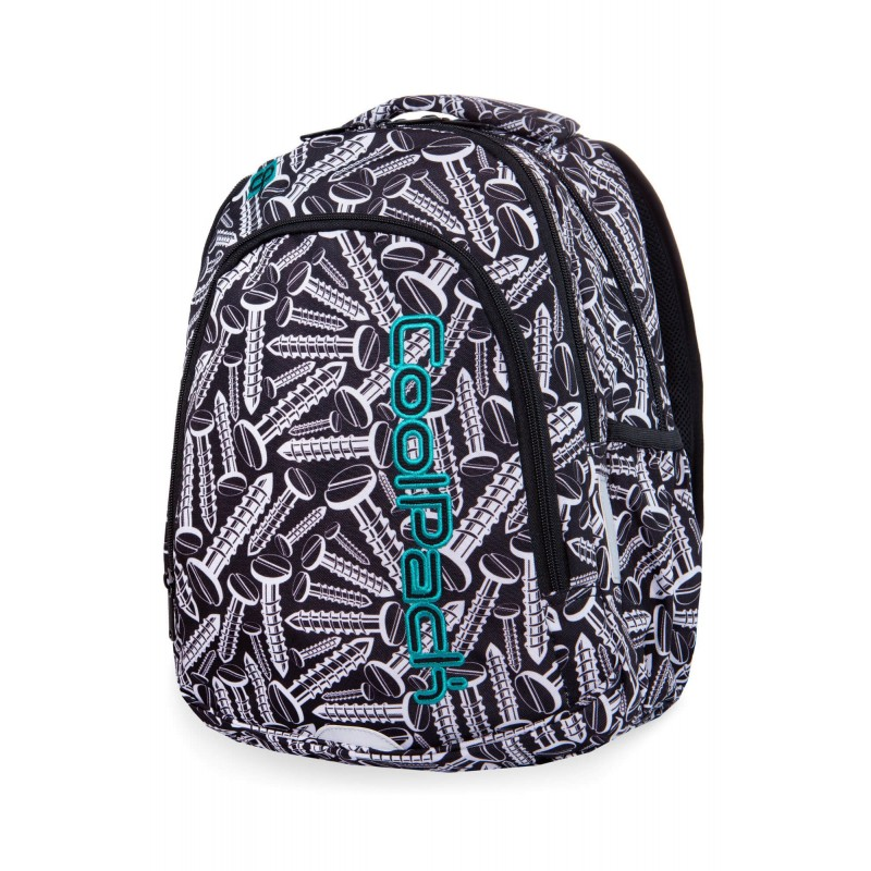2d5a6624cfce4 ... Czarno-biały plecak szkolny ze śrubami klasy 1-3 CoolPack Screws Prime  modny ...