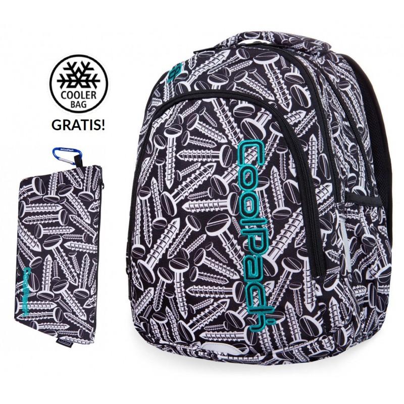 834f3252521ab Czarno-biały plecak szkolny ze śrubami klasy 1-3 CoolPack Screws Prime