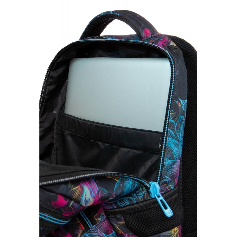 fe32fd6a16fa2 ... Czarny plecak szkolny w kwiaty z kieszenią na laptopa CoolPack Vibrant  Bloom Spiner ...