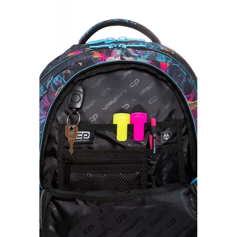 13f9da376210d ... Czarny plecak szkolny w kwiaty z organizerem CoolPack Vibrant Bloom  Spiner ...
