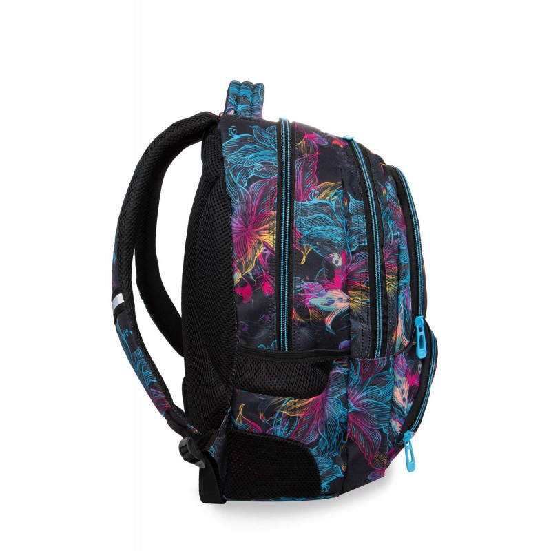 5c4b1def1b5c7 ... Czarny plecak szkolny w kwiaty z kieszenią na bidon CoolPack Vibrant  Bloom Spiner ...