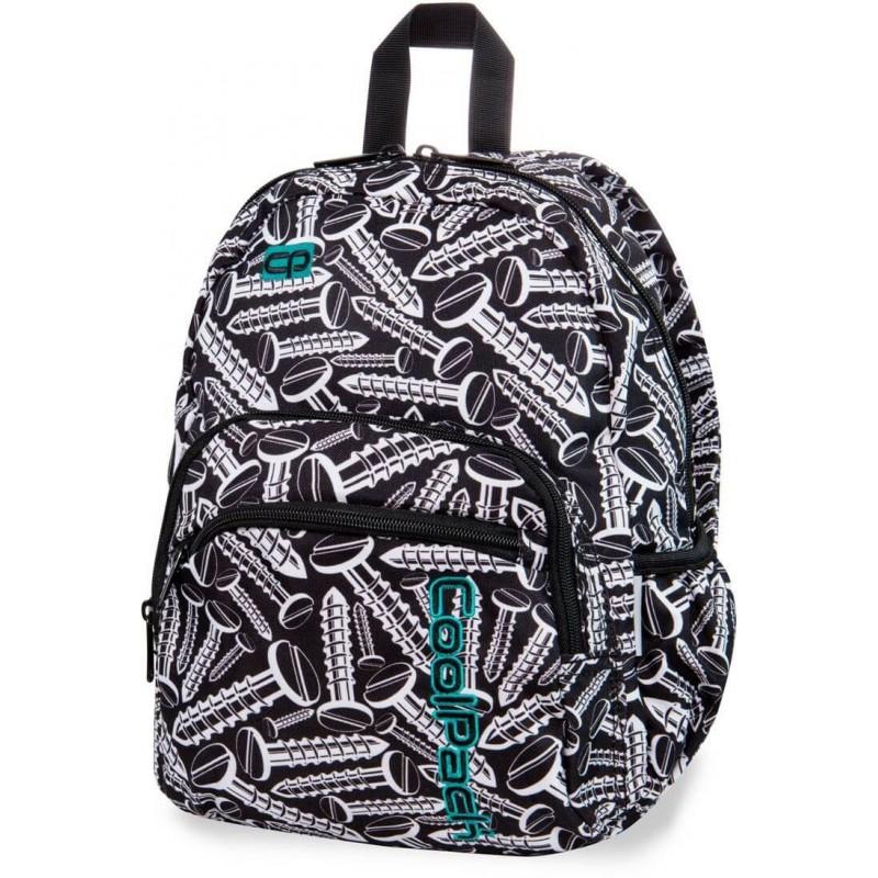 4747ffa929863 Czarno-biały plecaczek wycieczkowy w śruby CoolPack Screws Mini