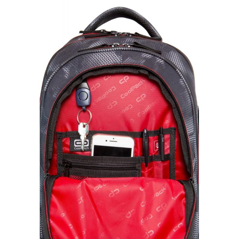 c1b59bb096885 ... Szary plecak z czerwoną podszewką w plamki młodzieżowy dla chłopca  Coolpack Misty Red Factor ...