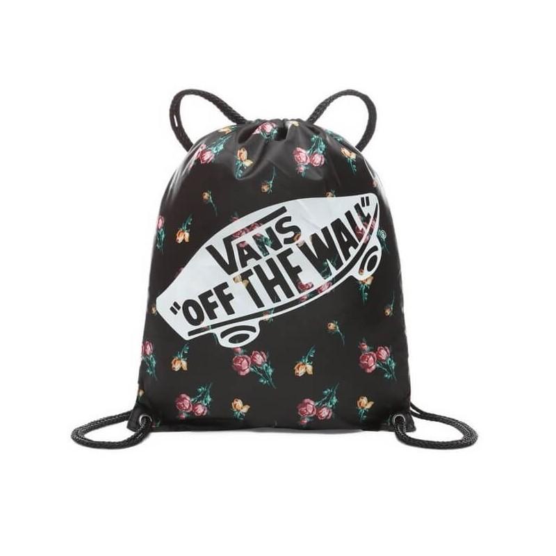 34416cb14c Czarny worek Vans Benched Bag Satin Floral w kwiaty damski plecaczek