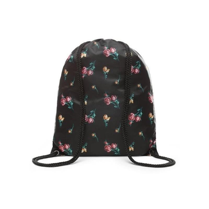 Czarny worek Vans Benched Bag Satin Floral w kwiaty damski plecaczek