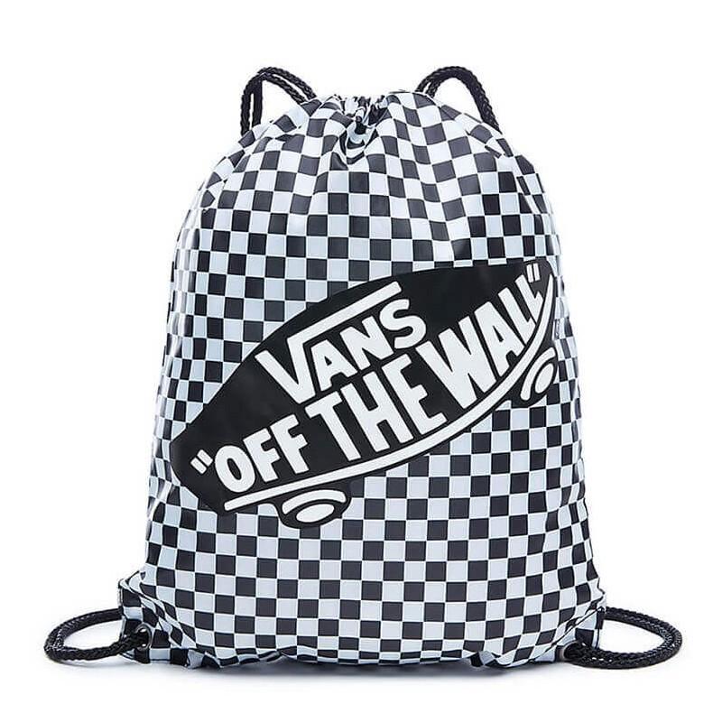 Worek plecak na sznurkach VANS BENCHED BAG BLACK WHITE CHECKERBOARD