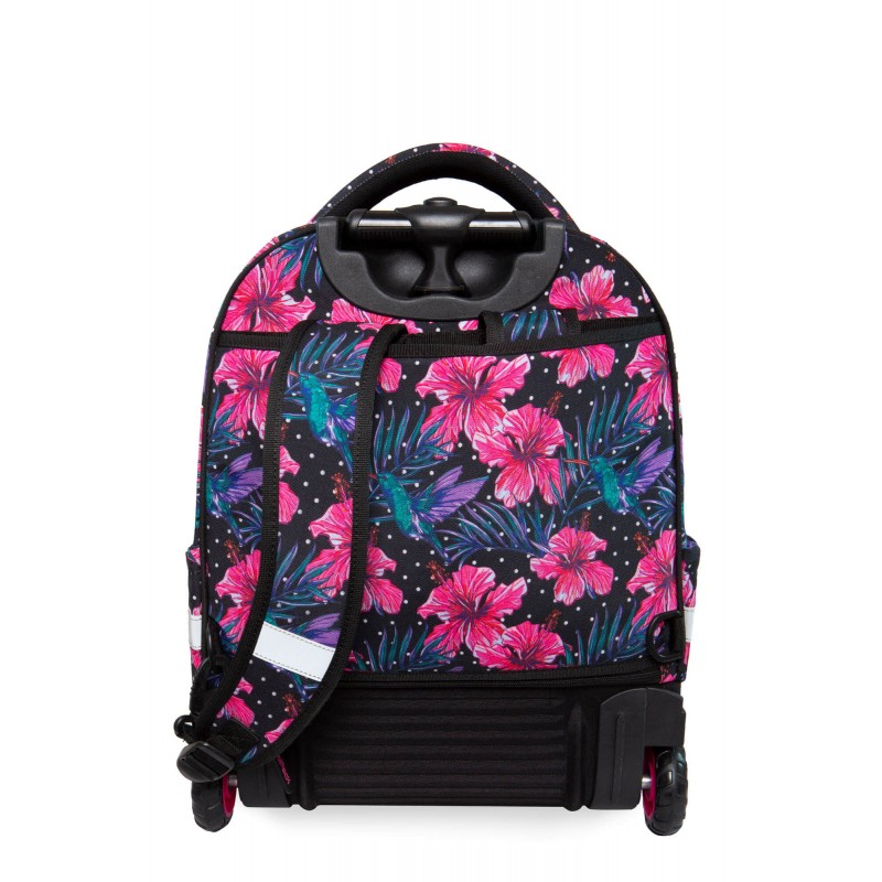 099ab7355b954 ... Czarny plecak na kółkach w kwiaty hibiskusy CoolPack Blossoms Starr  szelki ...