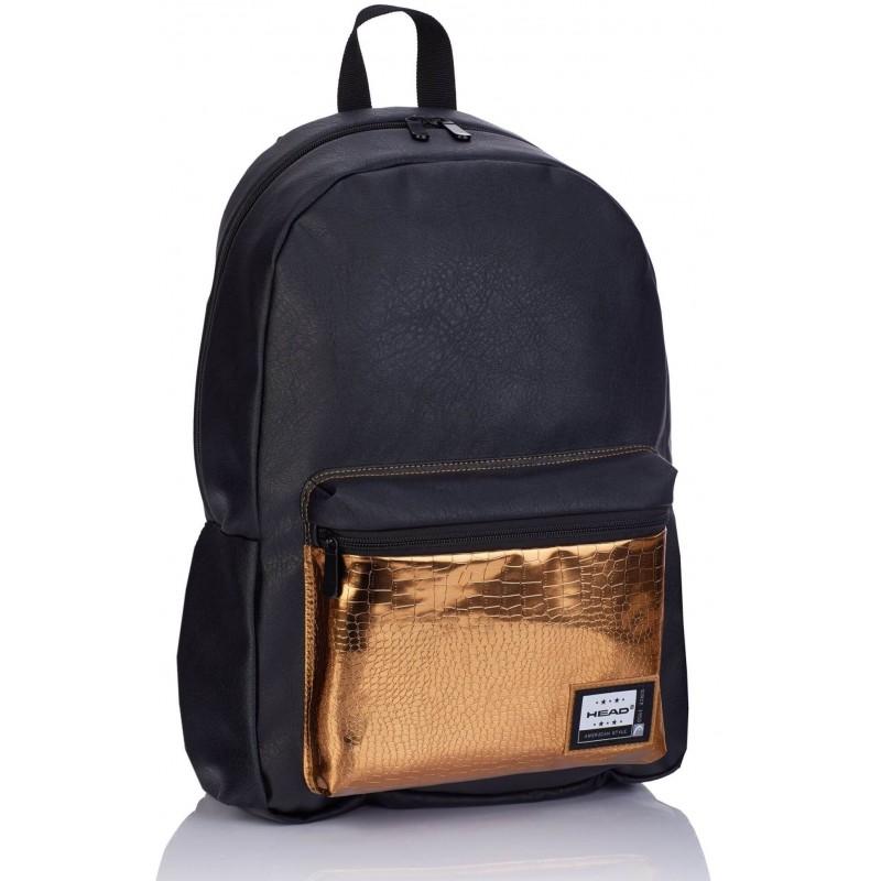 23fb60c7d5d43 Skórzany plecak damski HEAD Fashion czarny ze złotym eko skóra HD-351