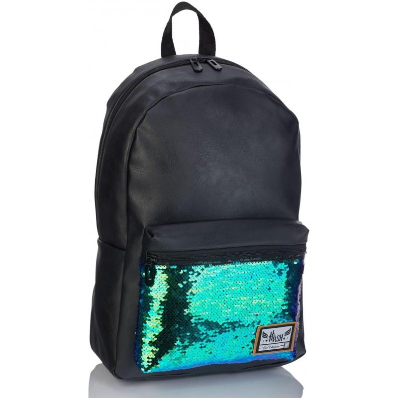 fce9fa213ea04 Skórzany plecak damski HASH Fashion czarny z cekinami eko skóra HS-134