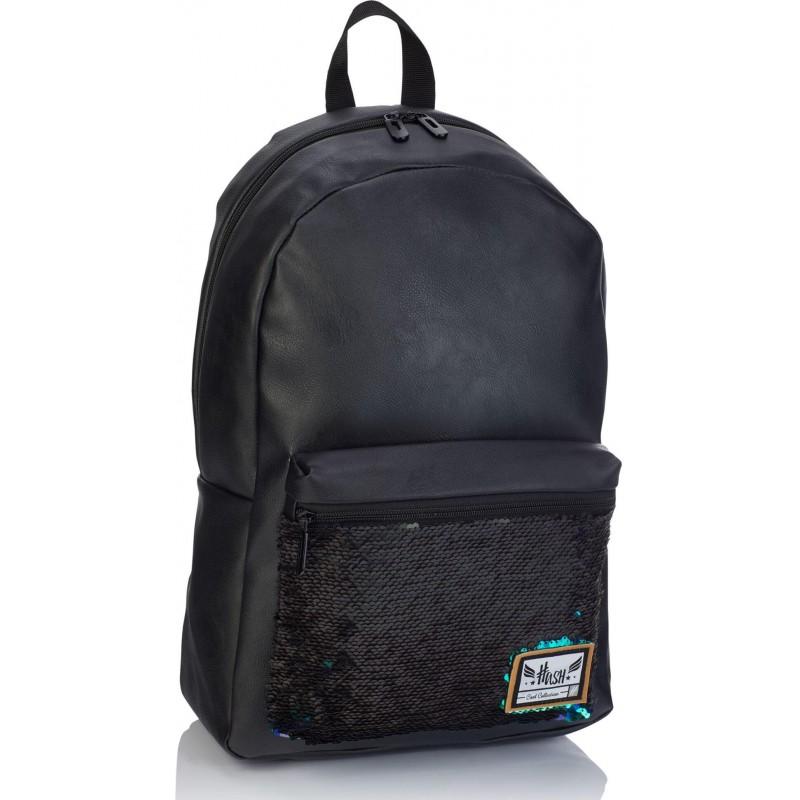 b191b597660c4 ... Czarny plecak z cekinami z eko skóry Hash kolorowe cekiny; Skórzany plecak  damski ...