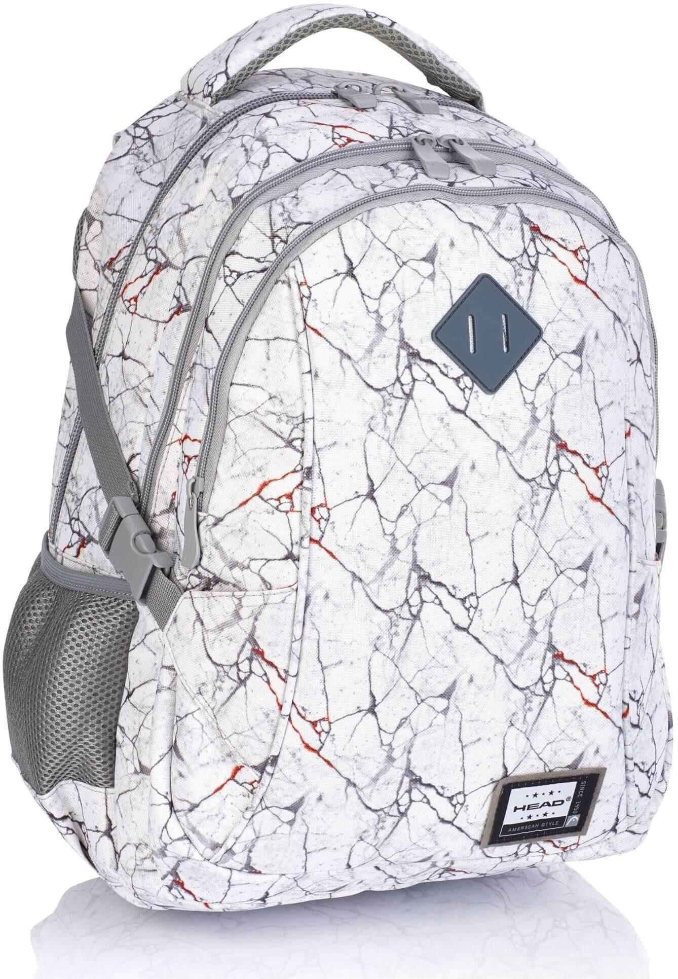 Szary plecak szkolny młodzieżowy marmurkowy marble laptop