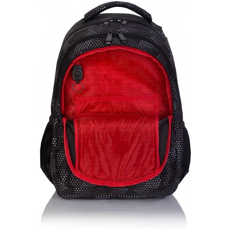 9080c46c81fc9 ... Czarny plecak szkolny z czerwoną podszewką dla chłopaka Head HD-233  Plecak  młodzieżowy ...