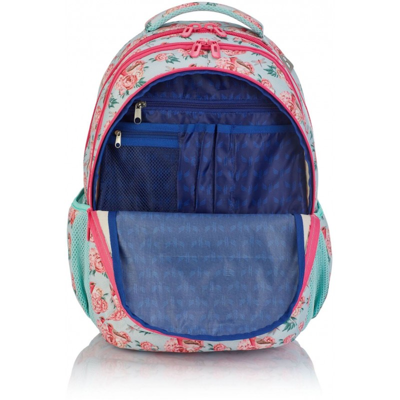 cd9c7ba6c6ffe ... Pastelowy plecak szkolny z granatową podszewką w róże 3 komory dla dziewczynki  Hash HS-48 ...