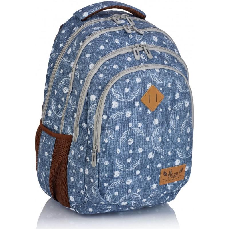 77c94da28aa6d Jeansowy plecak szkolny ze skrzydłami dla dziewczyny Hash HS-120