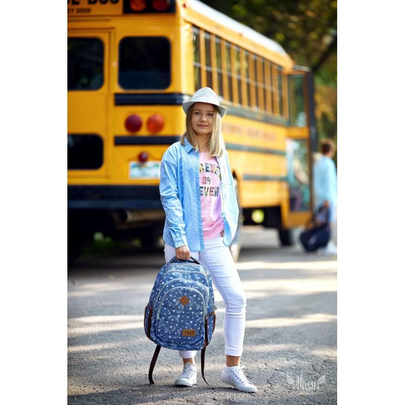 43919cb54a2b9 Jeansowy plecak skrzydełka dla dziewczyny Hash 2019 · Plecak młodzieżowy HASH  jeansowy ze skrzydłami HS-120 C · Wygodny plecak szkolny ze ...