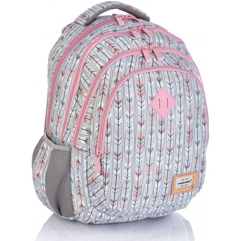 4601e4ef98d67 Szary plecak boho w strzałki do szkoły dla dziewczynki Head HD-264