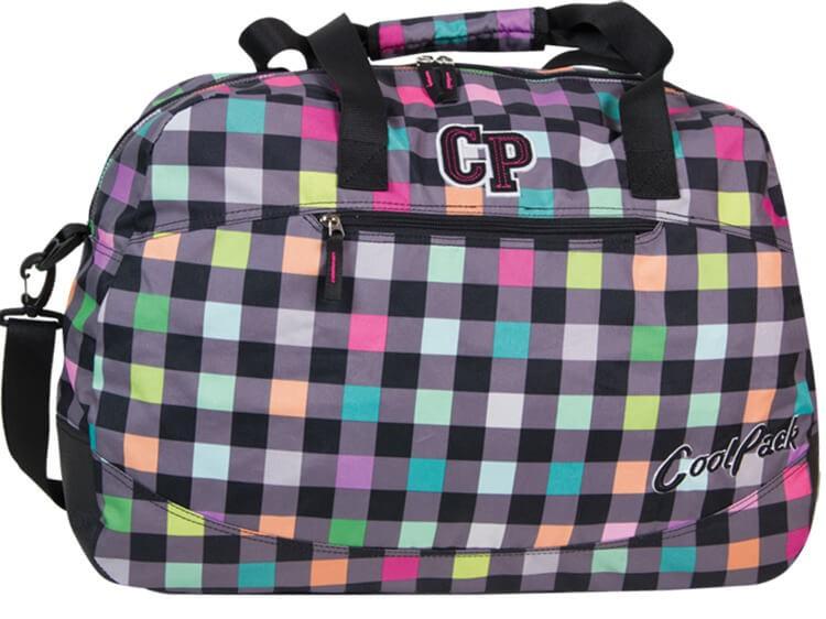 55cd26b14b7190 Duża torba plażowa sportowa CoolPack w szaro-kolorowe kwadraciki