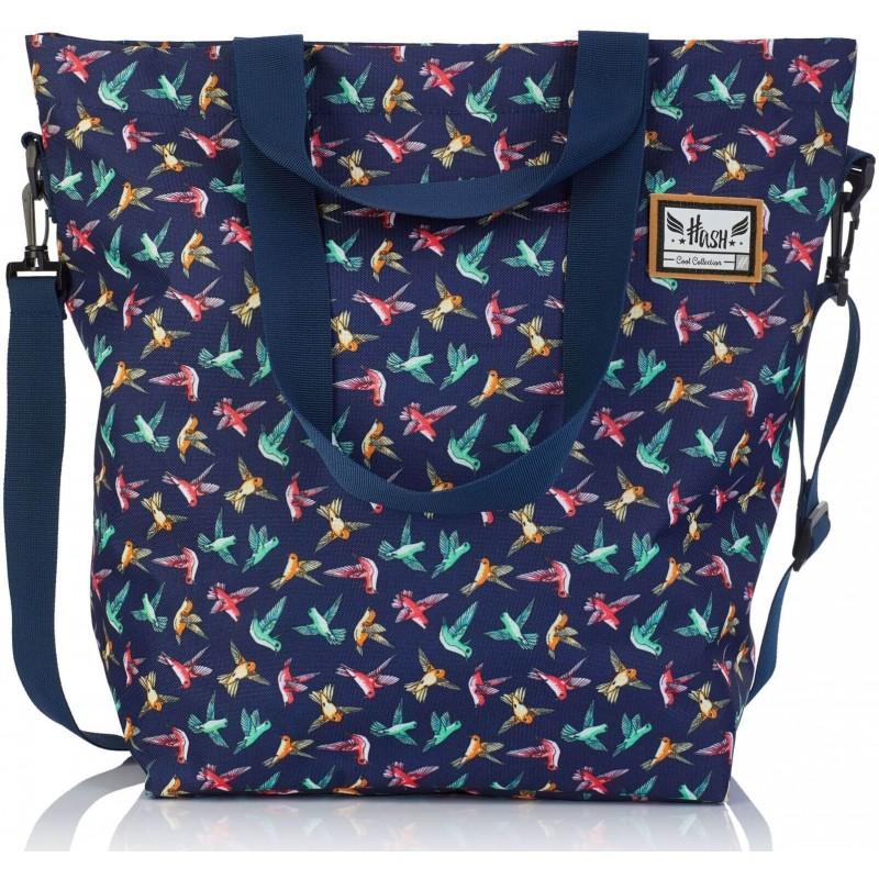 d6be942b44399 Granatowa torba damska na ramię shopper w ptaki koliberki Hash HS-47