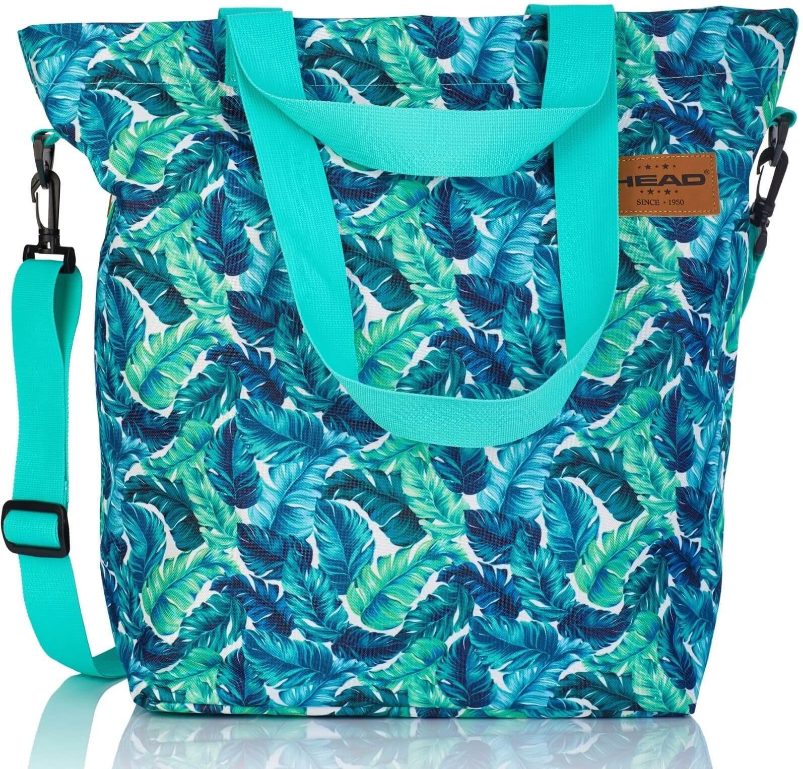 Turkusowa torba damska na ramię shopper tropikalne liście