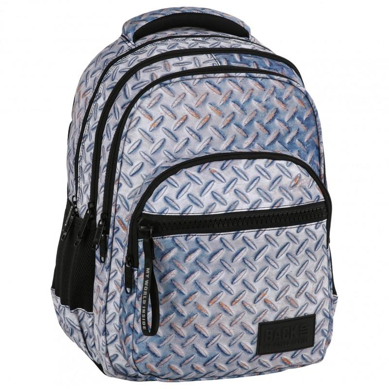 aac86159cc529 Plecak szkolny dla chłopca z blachą metalem fullprint BackUP M42