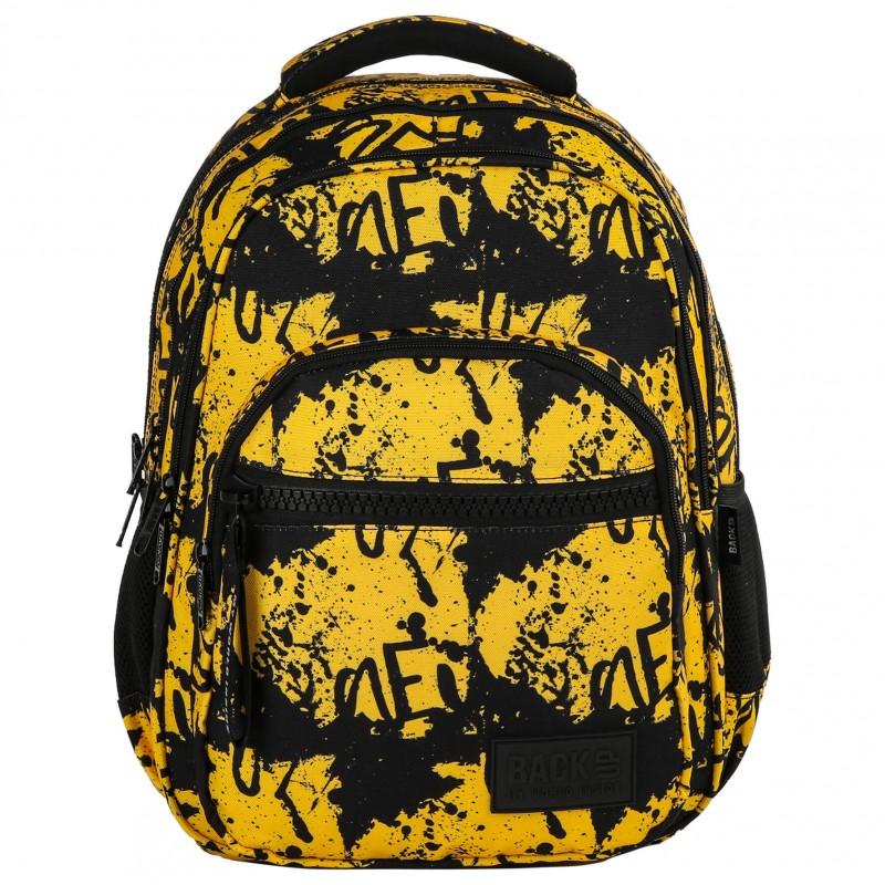 b36f94c4f21b3 Plecak szkolny BackUP musztardowy i czarny w plamy M43 · Musztardowo żółty plecak  szkolny młodzieżowy w plamy graffiti BackUP M43 ...