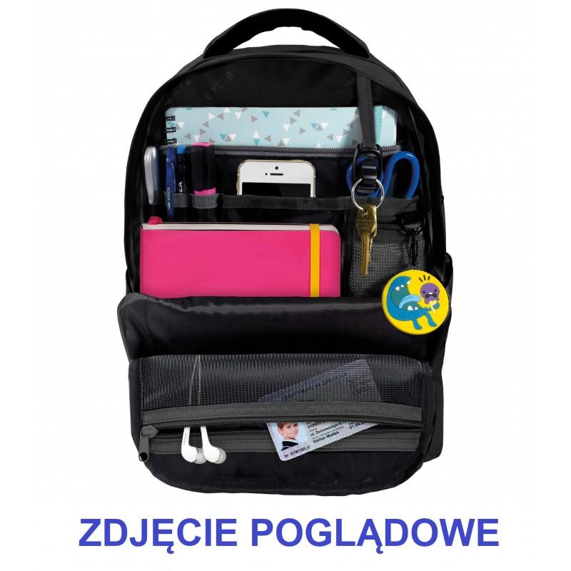 809e3acfa7a56 ... Musztardowy plecak szkolny młodzieżowy w plamy graffiti BackUP M43  środek 1 ...