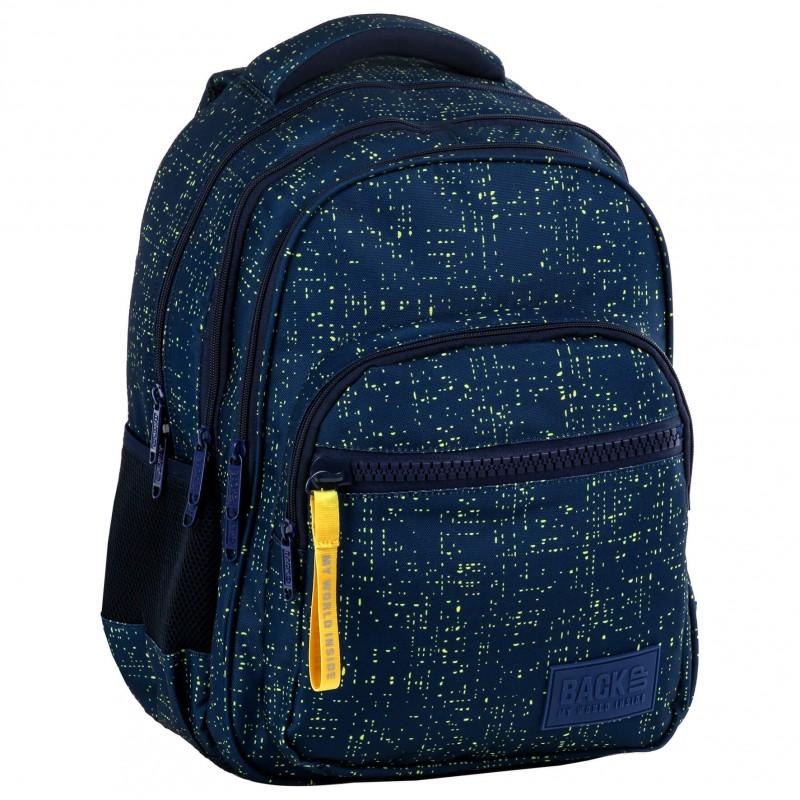 fd93669ac4e01 Granatowy plecak szkolny dla chłopca melanż światła BackUP M46