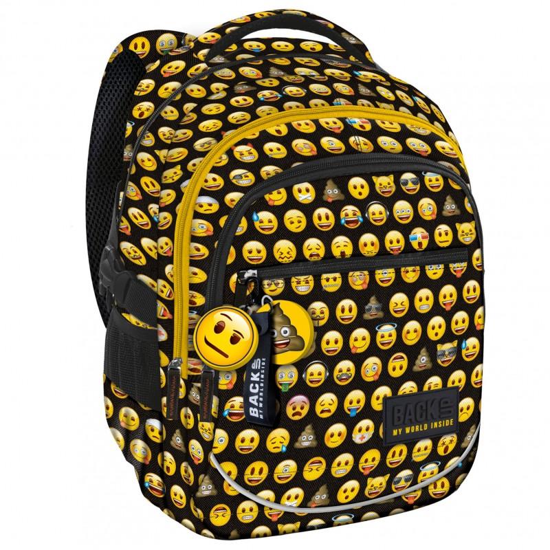 f778ce4b89af2 Plecak szkolny Emoji z emotikonami czarny w żółte buźki BackUP XEM86