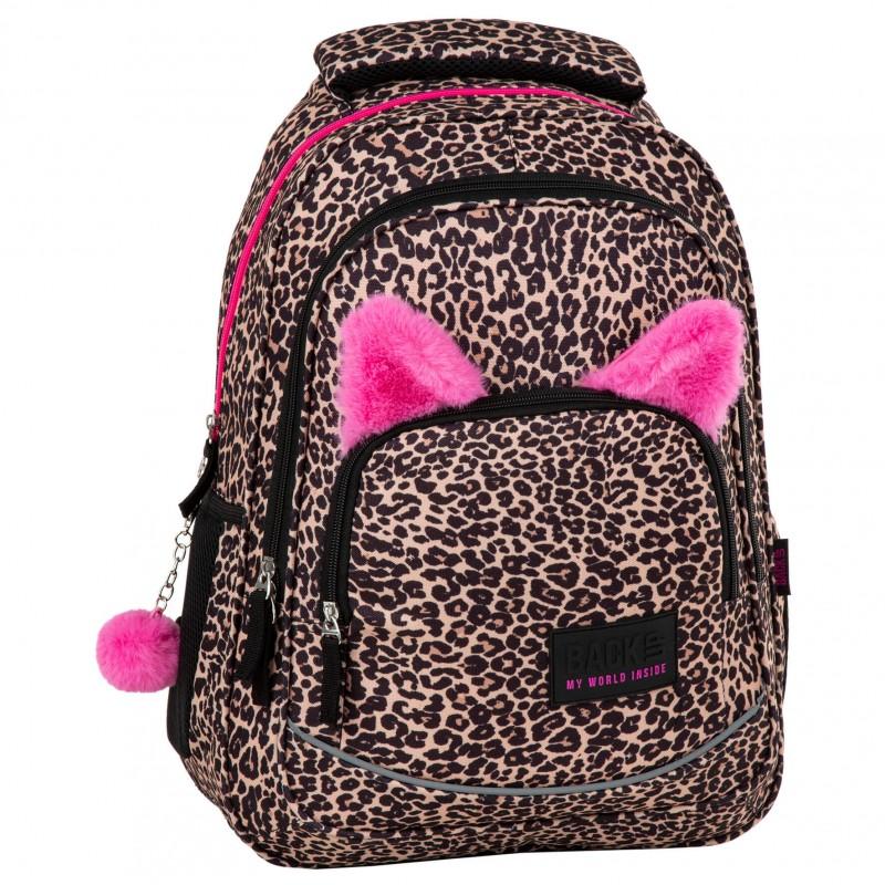 ab4f6438fab79 Plecak szkolny młodzieżowy w panterkę z uszami dla dziewczyny BackUP X91