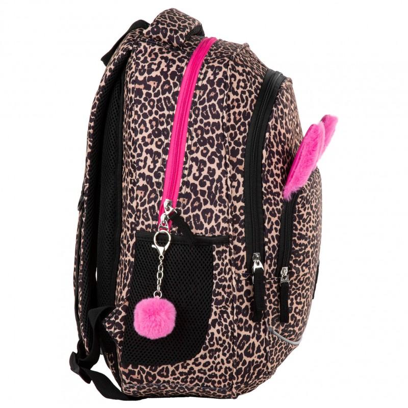 fbf1c244203af ... Plecak w panterkę z pluszowymi uszami i pomponem dla dziewczynki BackUP  X91 ...