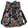 Torebka plecak 2w1 BackUP czarny Canvas tropikalny w kwiaty RAJSKI MOTYL A36